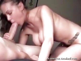 Busty Brunette Chick Sucks And Jerks Off Big Cock