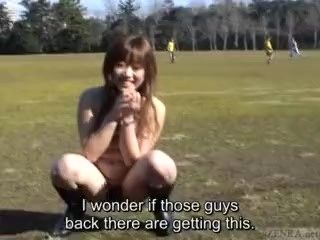 Subtitled Japanese public nudity peeing and then soccer game (6)