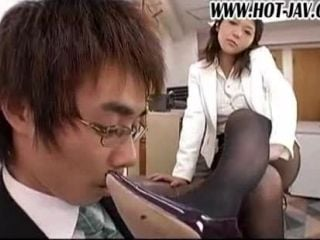 Japanese Dominating Boss Having Fun With Her Male Assistants