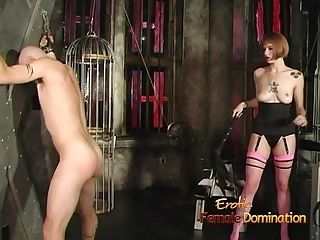 Dominatrix Uses A Whip On A Stud And Ties His Cock Up (3)