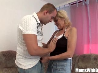 Blonde Granny In Stockings Hammered By Young Cock (2)