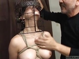 Subtitled Japanese CMNF BDSM nose hook bird cage play (4)