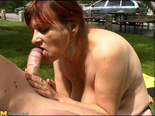 Redhead Mature Dame Giving Out Blowjob In Amateur Outdoor Tape
