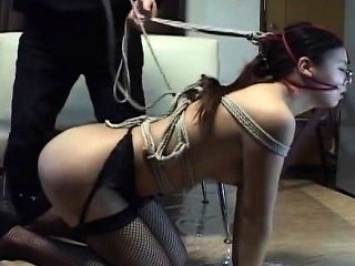 Subtitled mixed Japanese BDSM on a leash with anal play (4)