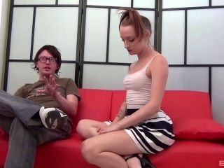 Magnificent Paige sucks the thin cock of her nerdy buddy
