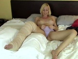 Blonde Leg Cast Masturbation