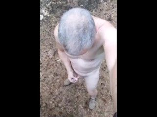 Naked Jerking Exhibitionist Cumshot In Public Outdoor Woods (2)