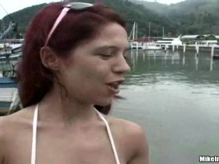 Rough sex by the beach shore with a redhead Brazilian