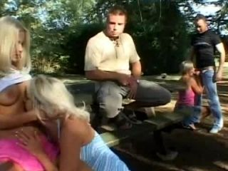 Hot Outdoor Gang Bang With Three Horny Ladies And Two Huge Cocked Dudes