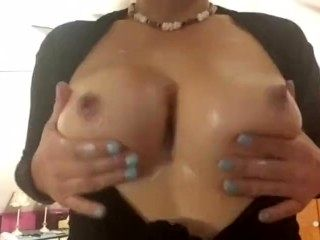 Rubbing Lotion on My Huge Tits Jiggling them