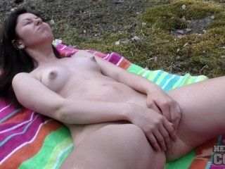 Virgin Sharlote Riding a Bike Naked in the Forest then Anal Dildo Fun