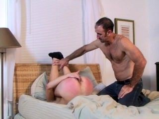 Twink toys his ass while muscular DILF worships it