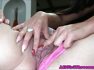 Lesbian Trio Toying With Dildos