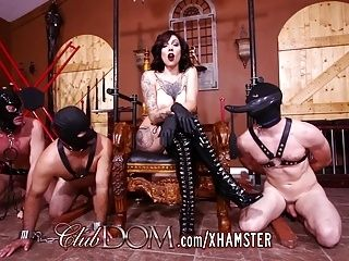 Tattooed FemDom Fucked With Dildo Then Fucks Slaves