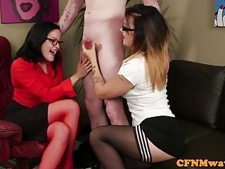 British CFNM babes wanking off lucky dude (3)
