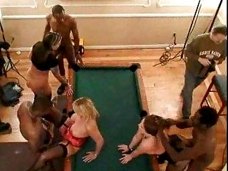 Group sex on Vegas pooltable with Susan Reno