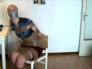 Blonde Tightly Taped To Chair