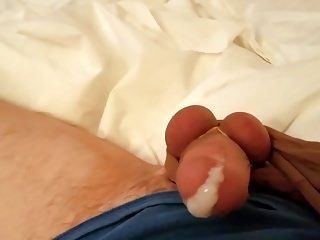 Pantyhose Cock Jerked Off With Nylon Orgasm Cum