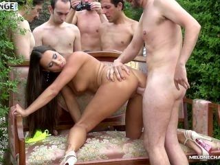 Melonechallenge Spanish guys try to gangbang Mea Melone in tropic island