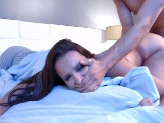 Wife Enjoys Hard Sex In Bed While Hubby Sloeeping