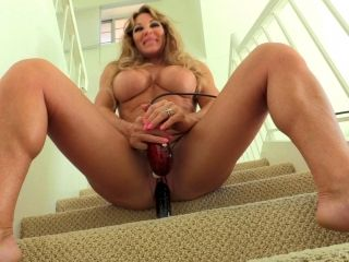 Farrah With Big Tits Screwing Her Pussy Using Toy At The Staircase
