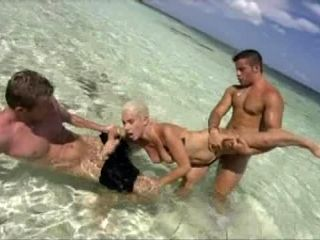 Horny Blonde Babe Having Sex On The Beach With Two Men