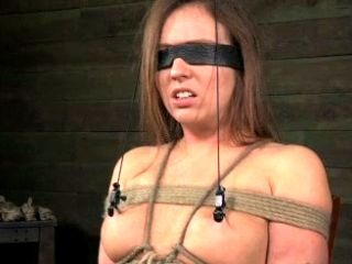 Blind Folded And Tied Up Brunette Suspended By Nipples Is Ready For Tortures