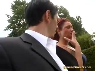 Horny German Chubby Redhead Babe Picked Up For Wild Outdoor Sex