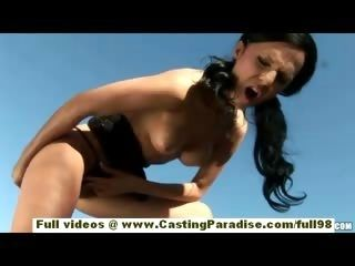 Brenda Black European Brunette Babe In High Heels Does Glass Toying Pussy And Ass Outdoor