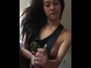 Sexy Dark Hair Girl Cum in Mouth CIM Blowjob