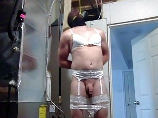Sissy Rope Gagged To The Ceiling With His Panties Down
