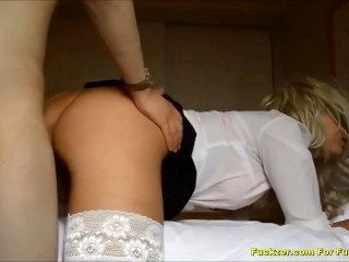 Messy Facial For Gorgeous Teenage Blonde Whore in Stockings
