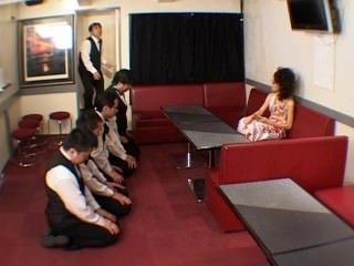 Mean Japanese boss blowgang by her employees