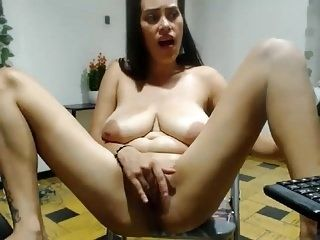 Hot Latina milks her saggy tits