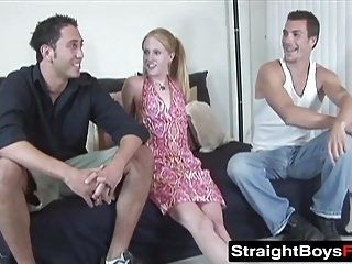 Horny blonde gets fucked from behind by Matt and Johnny (2)