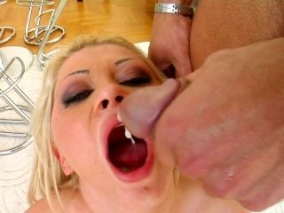 Blonde Alma loves to swallow