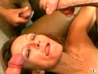 Great Blowbang With Double Penetration Of Trimmed Pussy