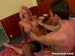 Slutty mature blonde Victoria plays with pussy and gets fucked on bed (2)