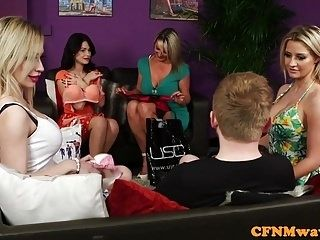 Bigtitted British Femdoms Tug Sub In Group (5)