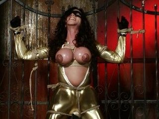 Busty Golden Catsuit Got Caught, Tied And Punished