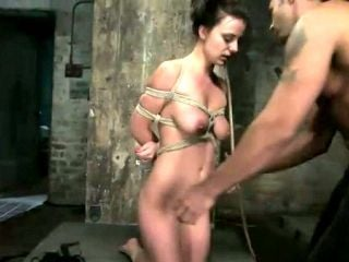 Big tittied tied up brunette Damsel from Denmark is punished in the torture room