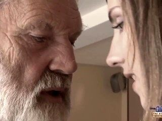 Old Young - Big Cock Grandpa Fucked by Teen she licks thick old man penis (2)