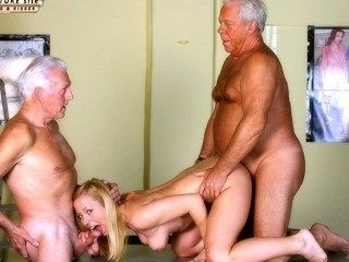 Vintage Old Young - Teenie Girl Fucked by 2 wite hair grandpas