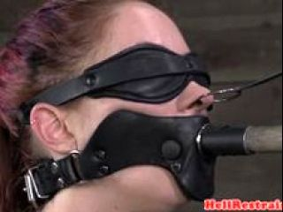 Redhead Sub Gagging While Tiedup In Bdsm