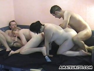 Amateur Homemade Foursome With Chubby Girlfriends (9)