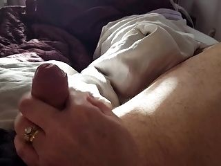 teasing my uncut cock with her fingers, Hairy pussy,