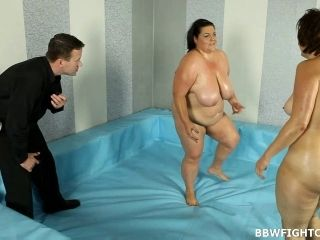 Fatties Covered In Oil Wrestling For A Chance For Him To Fuck Her