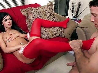 Mandy Fucked On The Couch In Holiday Lingerie (2)