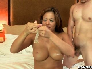Bosomy Mia and Javier are going for banging date, but condom betrays them