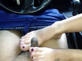 GF gives footjob after work with premature ejacualtion again